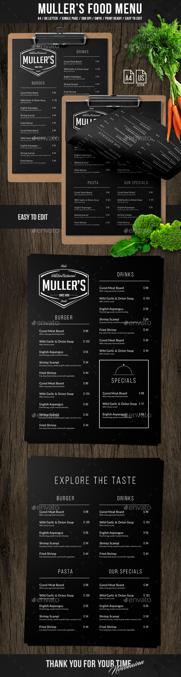 Muller's Single Page A4 & Letter Menu - Food Menus Print Templates