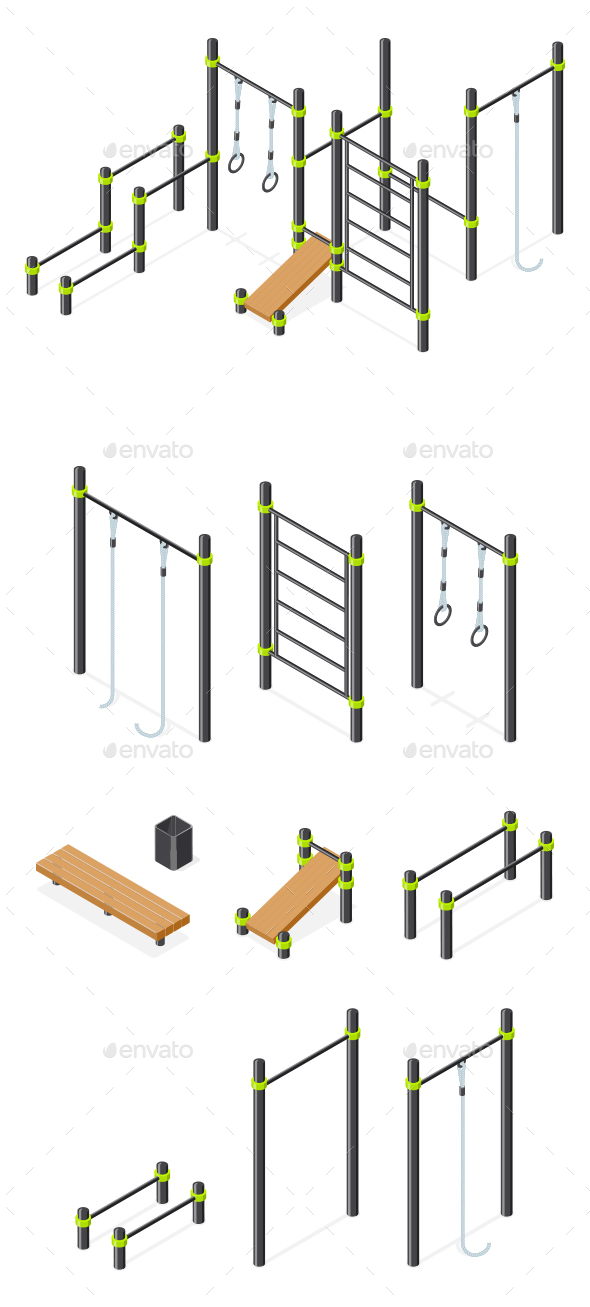 Set of Street Workout Area Elements. - Sports/Activity Conceptual