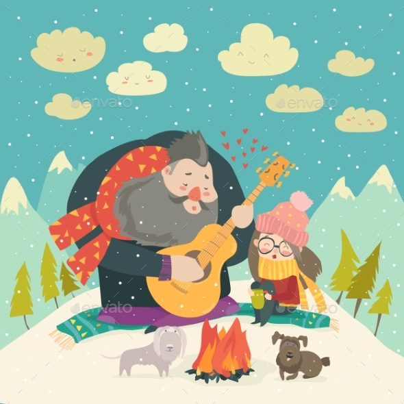 Boy Plays Guitar for a Girl in the Winter Forest - People Characters