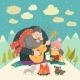 Boy Plays Guitar for a Girl in the Winter Forest - GraphicRiver Item for Sale