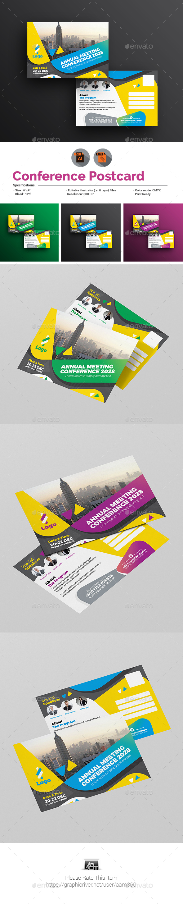 Event Summit Conference Postcard Template - Cards & Invites Print Templates