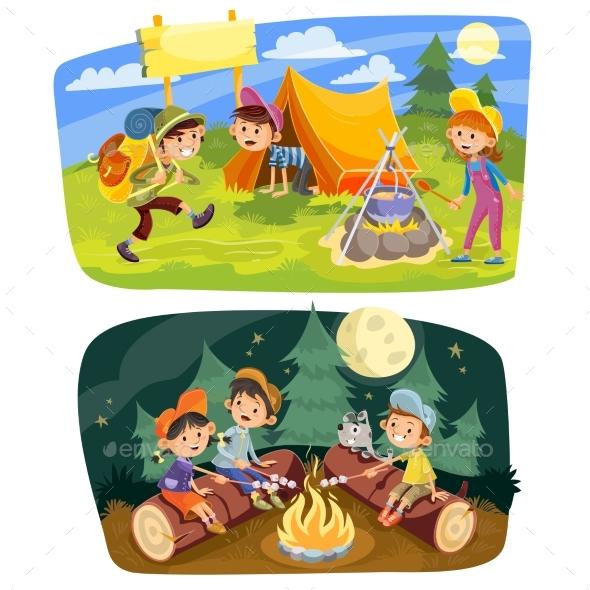 Kids Summer Camping Vector Concept Illustration - Sports/Activity Conceptual