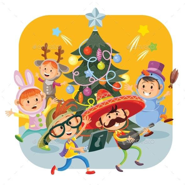Kids Christmas Carnival Party Vector Illustration - Christmas Seasons/Holidays