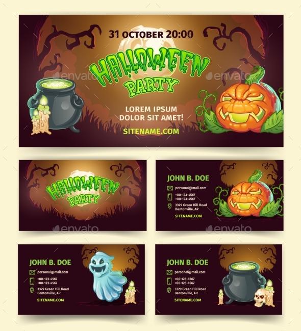 Halloween Party Vector Cartoon Banners - Halloween Seasons/Holidays