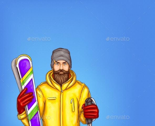 Pop Art Skier Man Vector Illustration - Sports/Activity Conceptual
