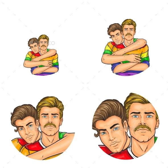 Vector Pop Art Avatars of Gay Men - People Characters