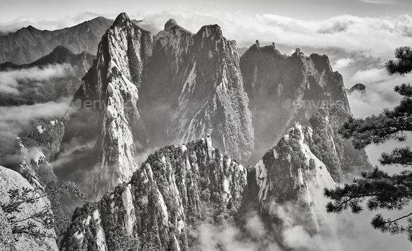 Scenic view from Huashan mountain, China. - Stock Photo - Images
