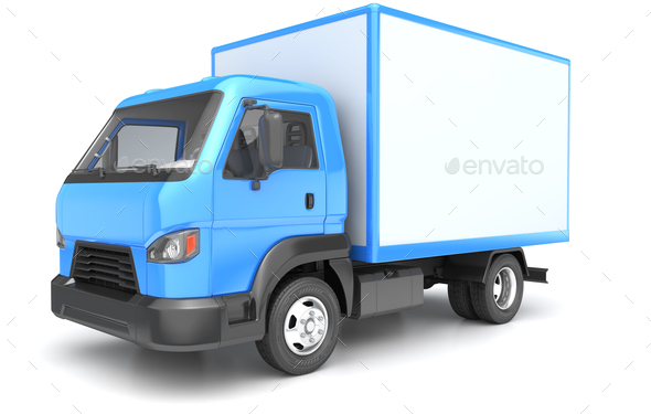 Box truck isolated on white - Stock Photo - Images