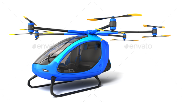 Electric Passenger Drone on the white background - Stock Photo - Images