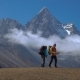 Hikers Travel in the Himalayan Mountains - VideoHive Item for Sale