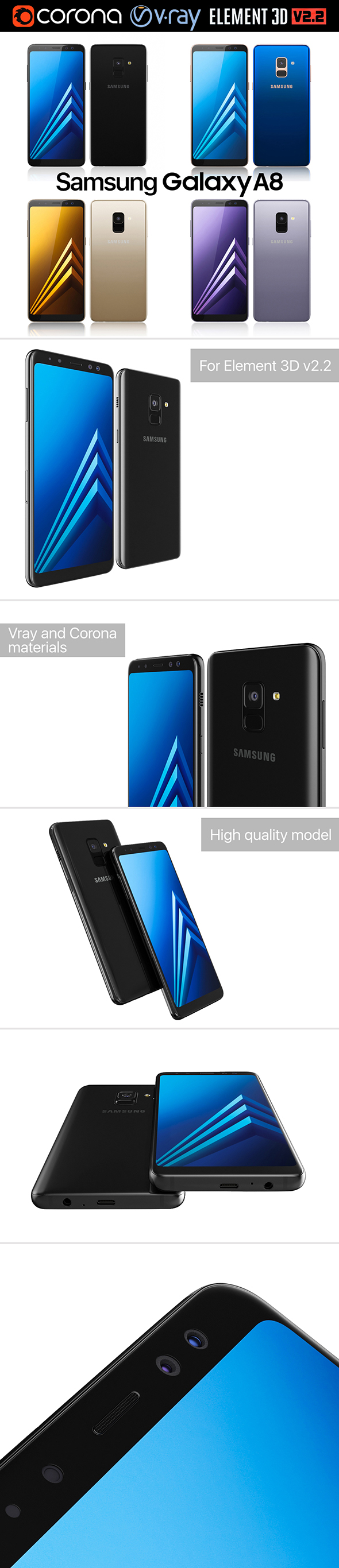 Samsung Galaxy A8 All Colors - 3DOcean Item for Sale