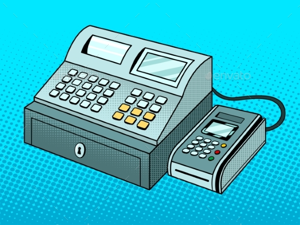 Cash Register with POS Terminal Pop Art Vector - Man-made Objects Objects
