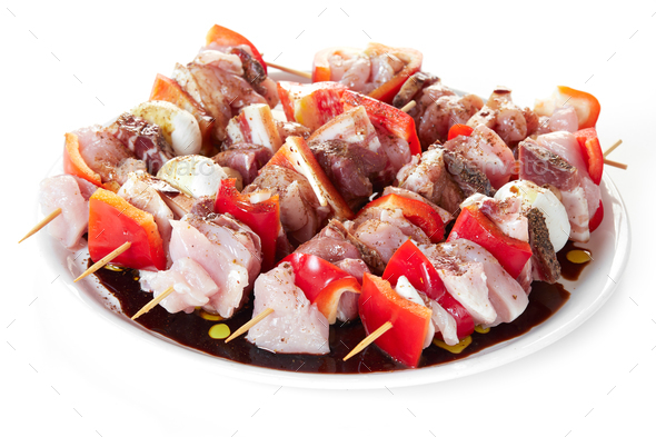 Skewers With Raw Meat - Stock Photo - Images