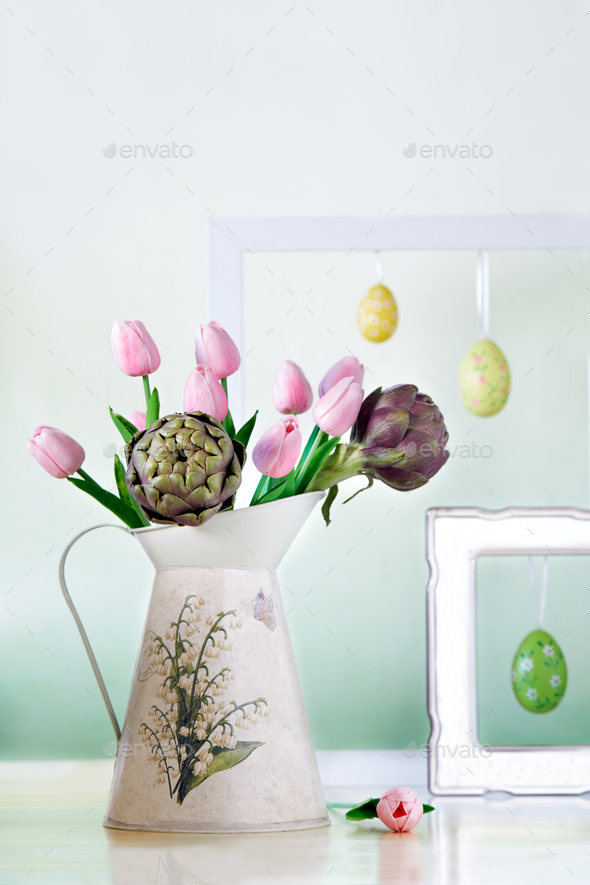 Pitcher With Tulips And Artichokes - Stock Photo - Images