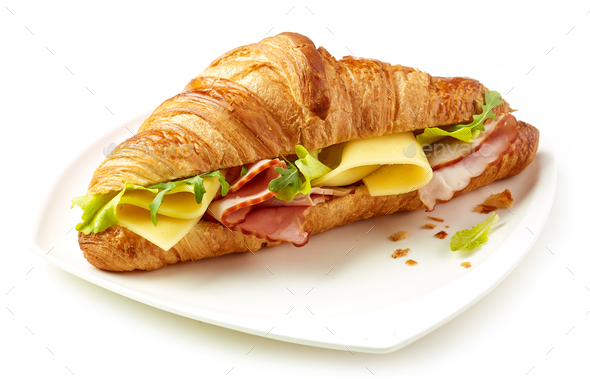 croissant with ham and cheese - Stock Photo - Images