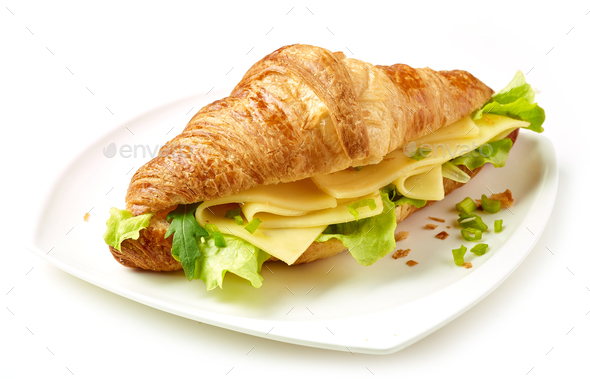 croissant with cheese - Stock Photo - Images
