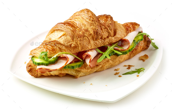 croissant with ham and cucumber - Stock Photo - Images