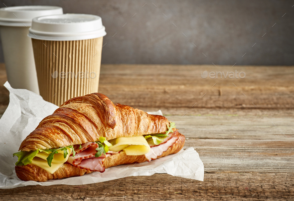 croissant sandwich with ham and cheese - Stock Photo - Images