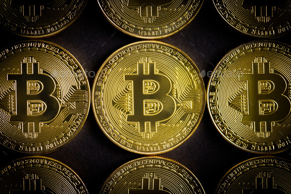 Golden bitcoins . Cryptocurrency. - Stock Photo - Images