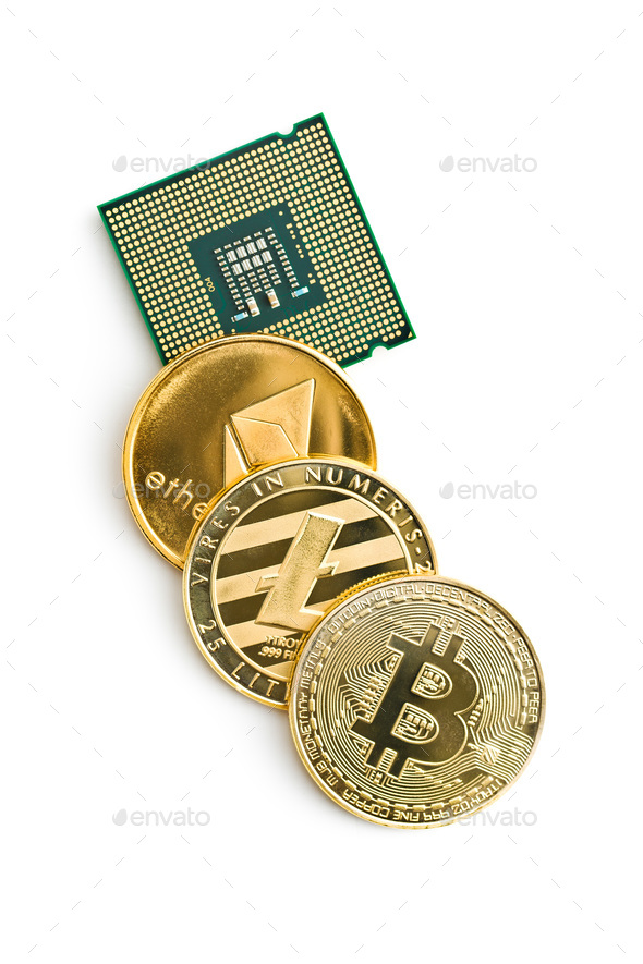 Bitcoin, ethereum, litecoin and CPU. - Stock Photo - Images