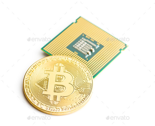 Golden bitcoins and CPU. - Stock Photo - Images