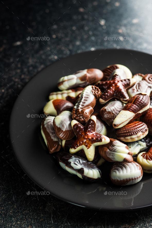 Sweet chocolate seashells. - Stock Photo - Images