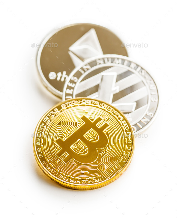 Bitcoin, litecoin and ethereum. - Stock Photo - Images