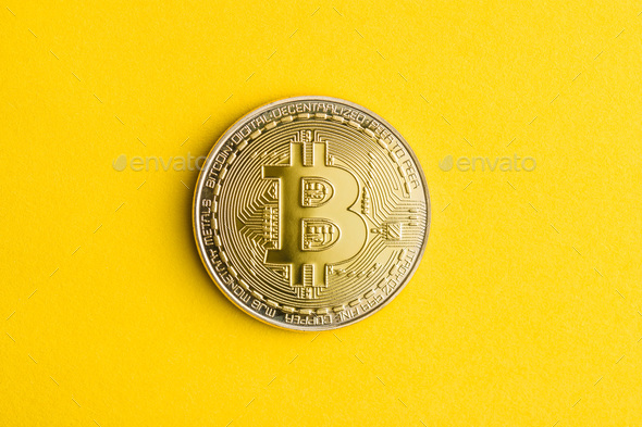 Golden bitcoins . Cryptocurrency . - Stock Photo - Images