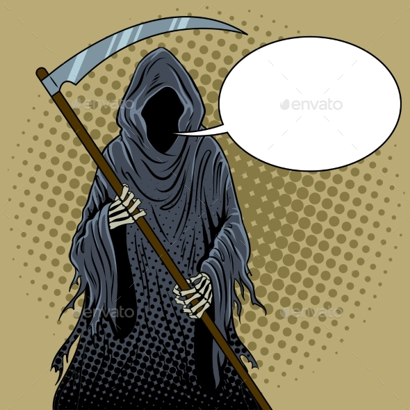 Grim Reaper Pop Art Vector Illustration - People Characters