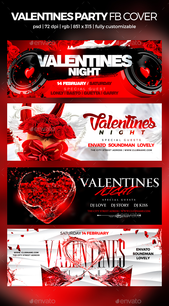 Valentines Party Facebook Cover - Social Media Web Elements