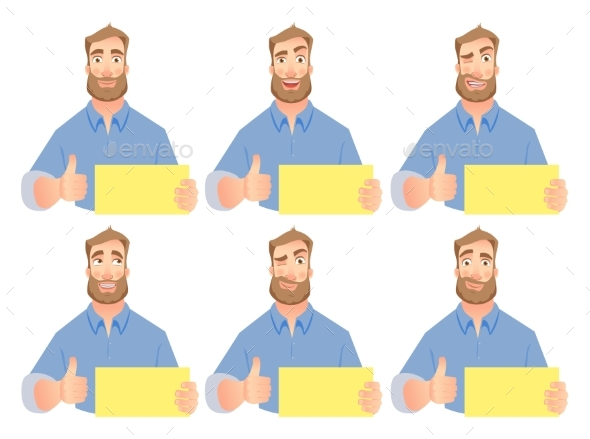 Man Holding Blank Sign - Set - People Characters