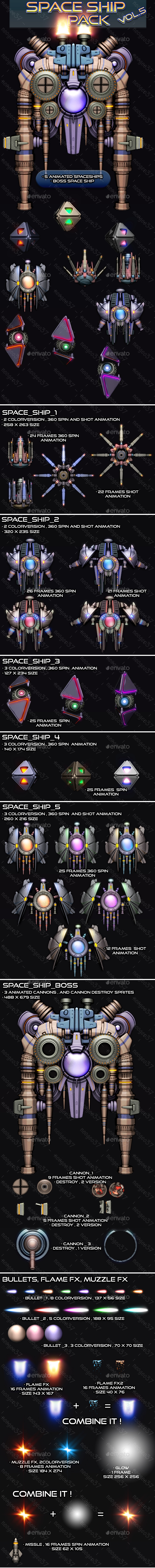 Space Ship Pack Vol 5 - Sprites Game Assets