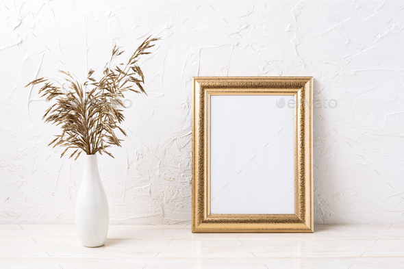 Golden  frame mockup with dried grass - Stock Photo - Images