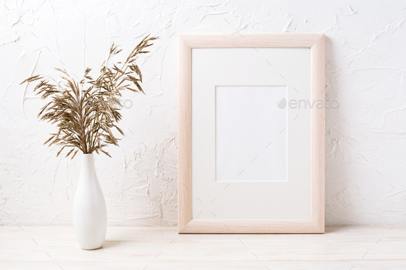 Wooden frame mockup with dried grass - Stock Photo - Images
