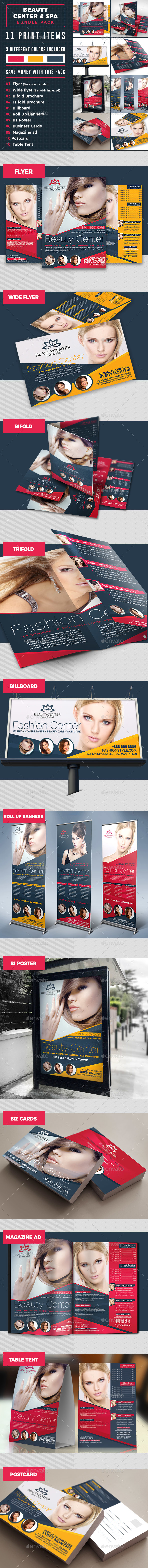 Beauty Center Print Template Bundle - Stationery Print Templates