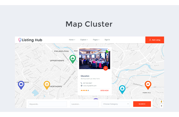 Listing hub directory listings html template by themezhub listing hub is the best business directory listings template build on boostrap 37 with more features and developer friendly this directory listing html flashek Choice Image