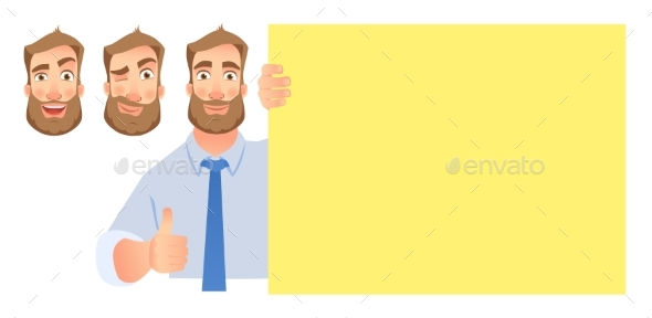 Businessman Holding Blank Signboard Set - Business Conceptual