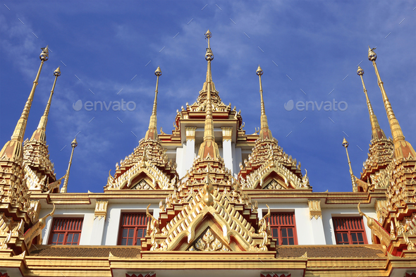 Loha Prasat at Wat Ratchanadda, Bangkok, Thailand - Stock Photo - Images