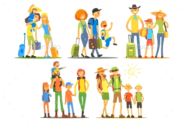 Family Of Three Travelers - People Characters