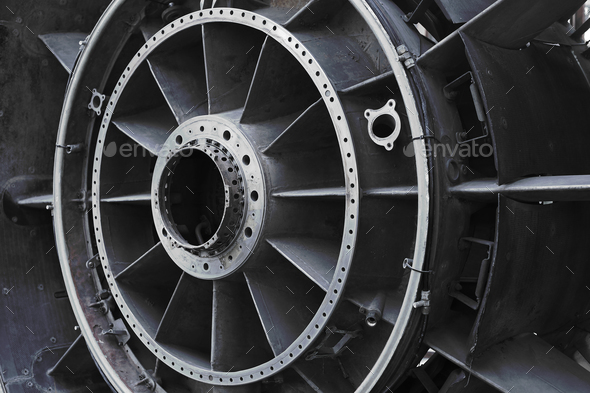 View of old engine of airplane - Stock Photo - Images