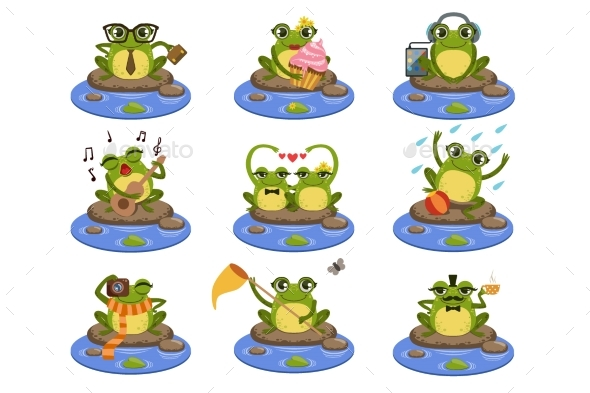 Frogs Sitting On The Stone Character Set - Animals Characters