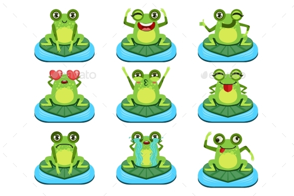 Frogs Sitting On Leaf Characters Set - Animals Characters