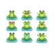 Frogs Sitting On Leaf Characters Set