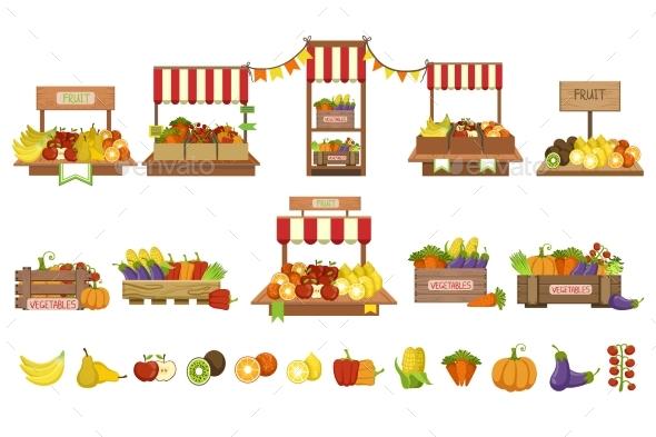 Vegetables Market Stands Set - Food Objects