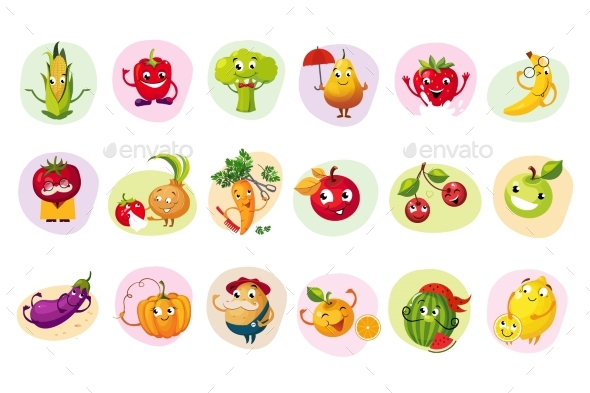 Funny Fruit Caracters Set - Food Objects
