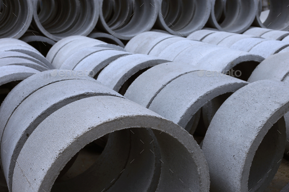 View of concrete tubes - Stock Photo - Images