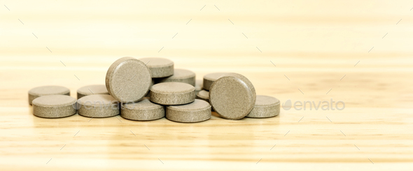 Mineral vitamin pills banner - Stock Photo - Images