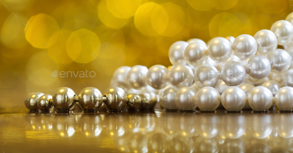 Pearls jewelry banner - Stock Photo - Images