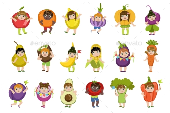 Kids Dressed As Vegetables - Food Objects