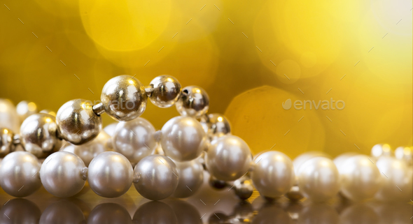 Christmas gift pearl necklace for woman - Stock Photo - Images
